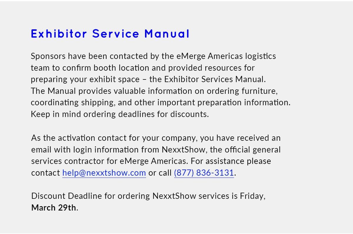 Exhibitor Service Manual