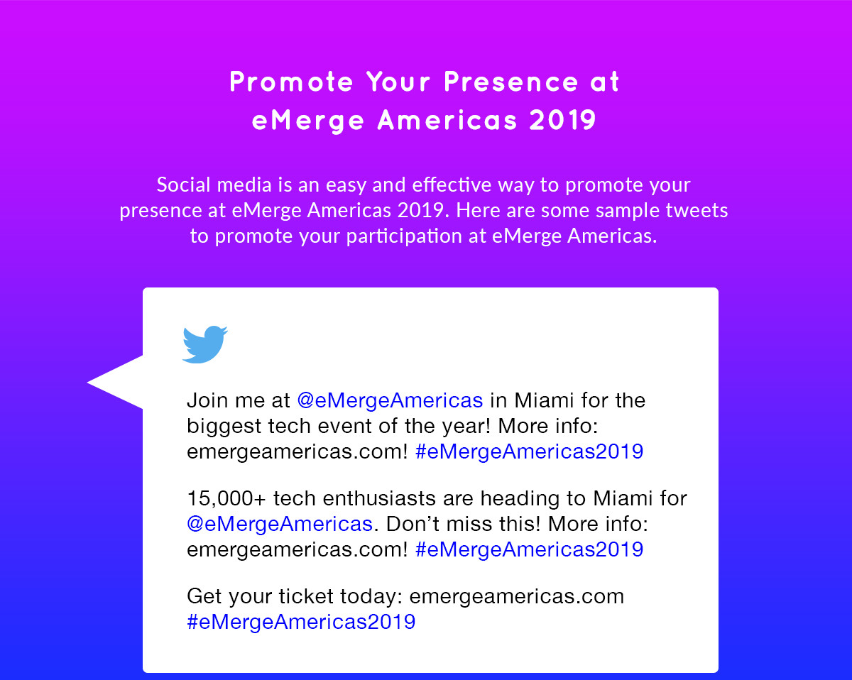 Promote your presence at eMerge Americas 2019